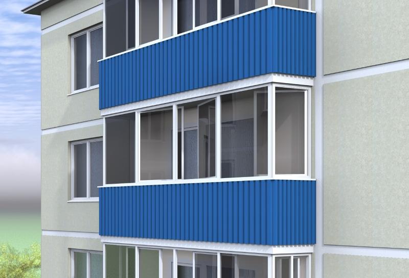"""Внешняя отделка балкона """" алюминиевые конструкции."""